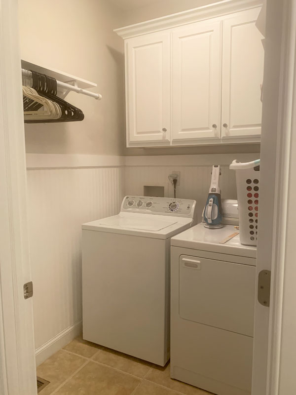 Laundry room makeover with bead board