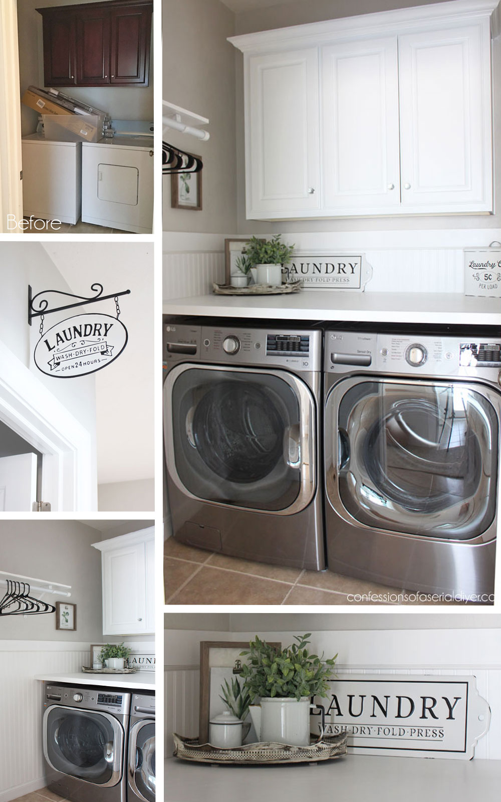 Laundry Room Refresh with Bead Board and Folding Counter