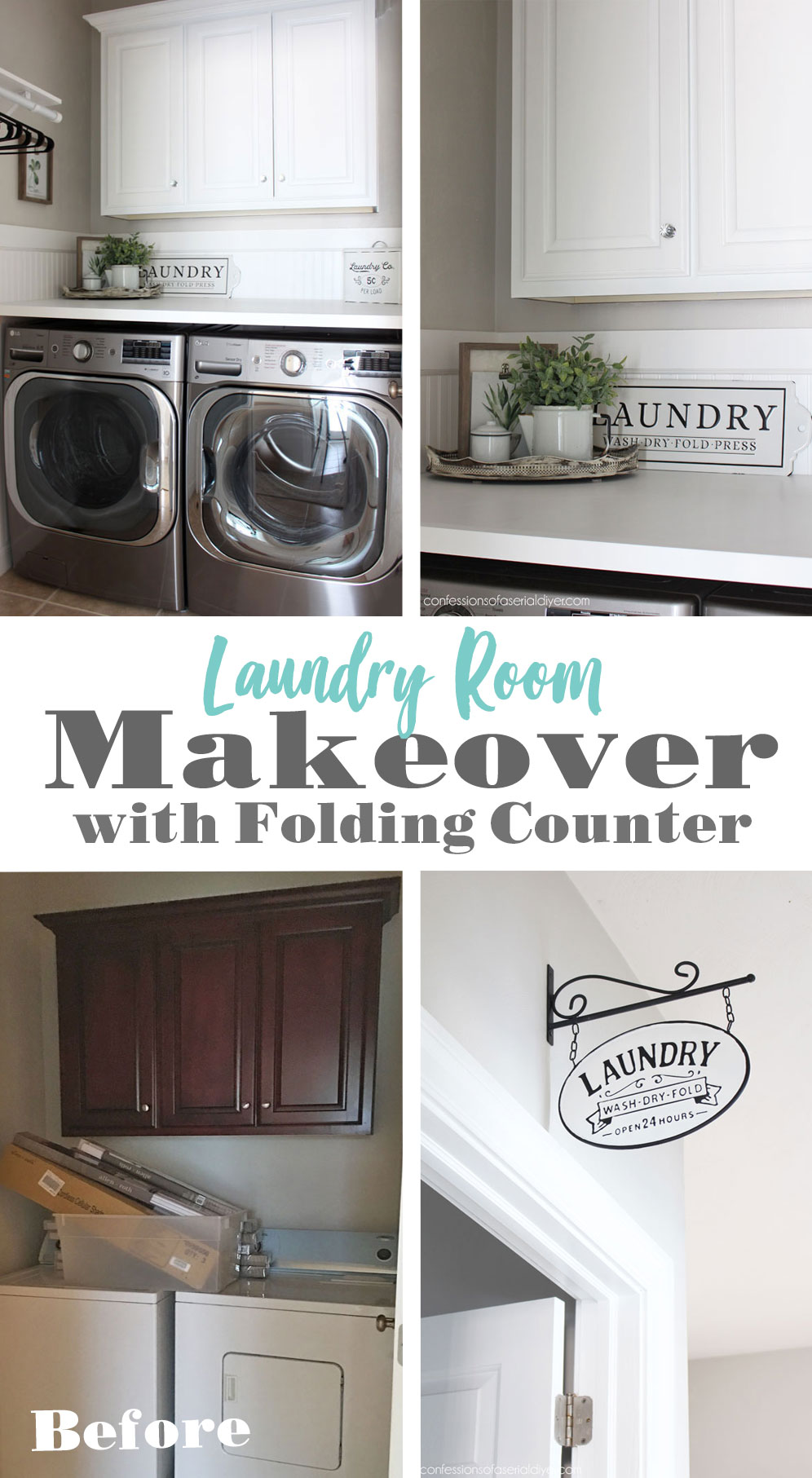 Laundry Room Makeover with Folding Counter