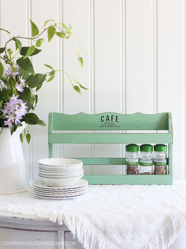 Thrift Store spice rack painted in Mint Julep