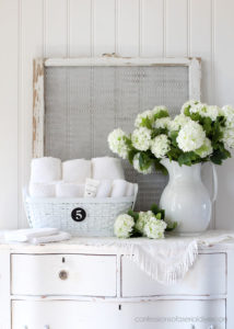Turn an old basket into the perfect place for guest towels!