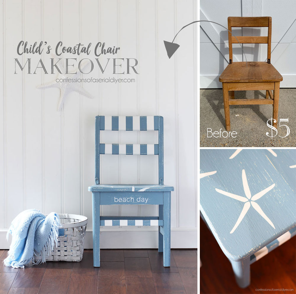 Child's coastal chair makeover in Dusty Blue