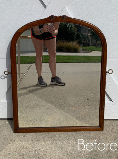 $6 Thrift Store Mirror Makeover with Decoupage Paper