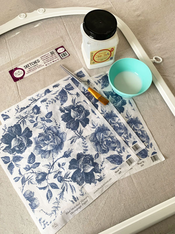 Belles and Whistles blue sketched flowers decoupage paper