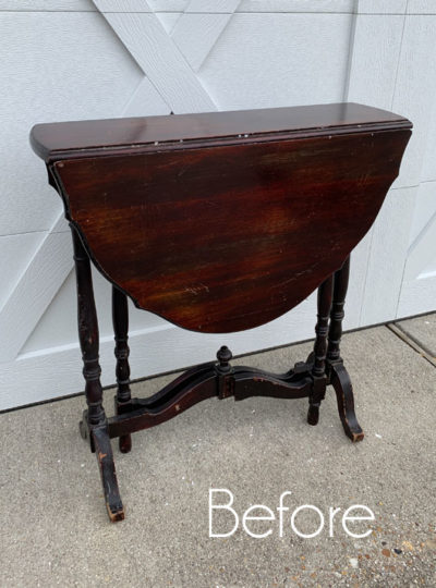 Petite Drop Leaf Table Makeover with Stencil