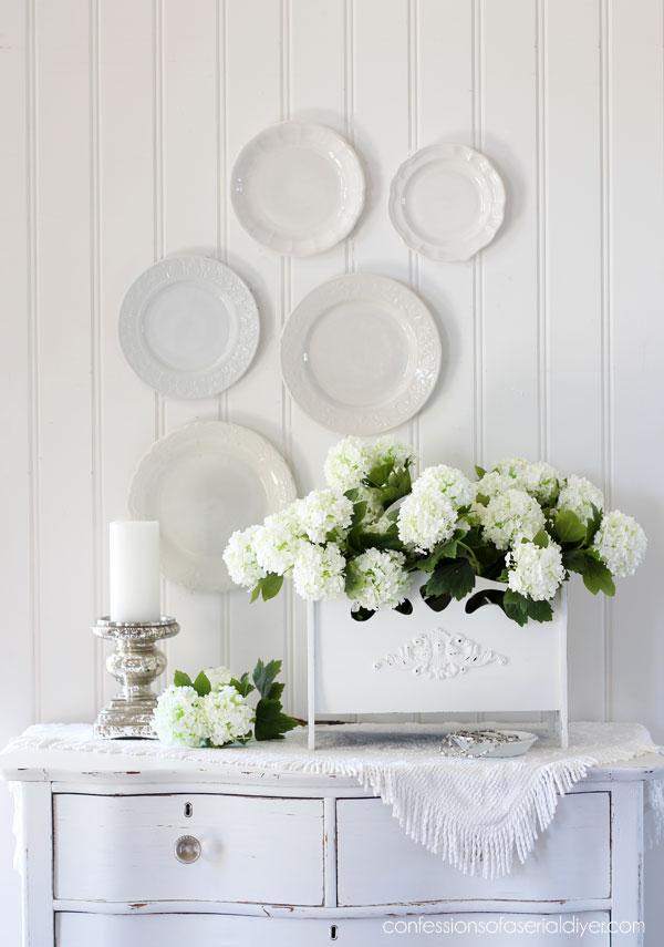 Magazine rack as a floral centerpiece
