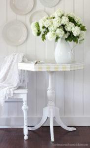 Antique Hexagon Table with Magnolia Garden Transfer