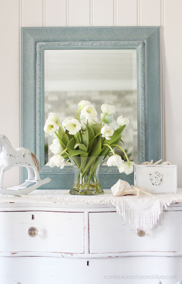 Mirror painted in Vintage Duck Egg Blue