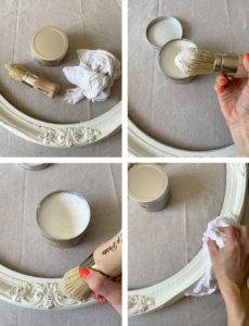 Waxing a mirror frame