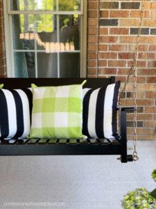 Green buffalo check outdoor pillows
