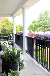 Window boxes on railing