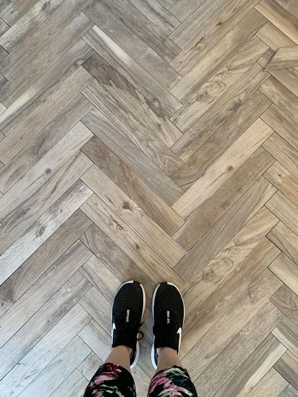 Herringbone floor tile
