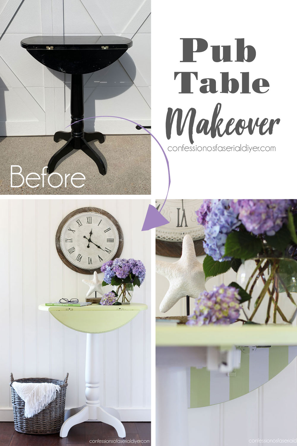 Painted Pub Height Table in Farmhouse Green
