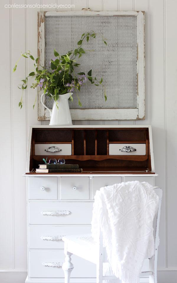 White painted secretary desk