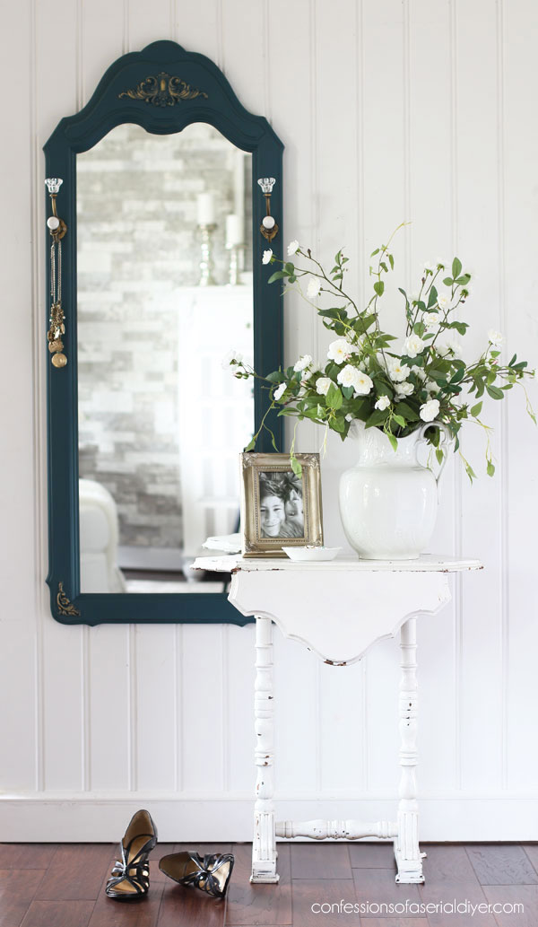 Thrift Store Mirror updated with paint and decor moulds