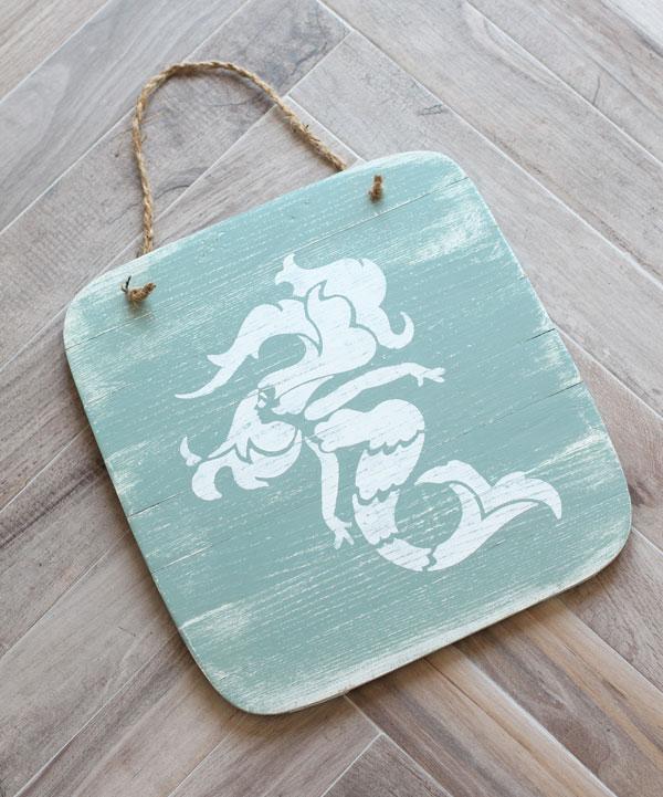 Coastal Mermaid Art from a Basket Lid