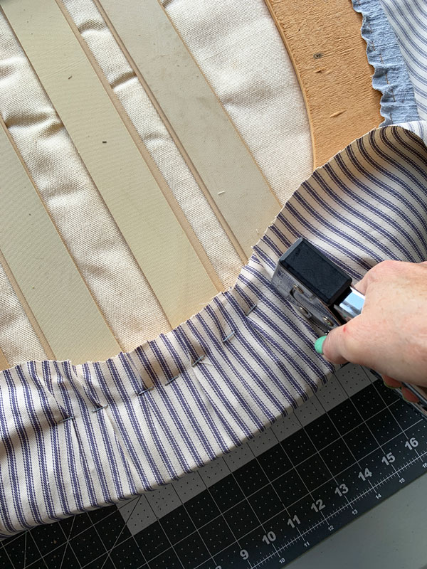 Covering a cushion