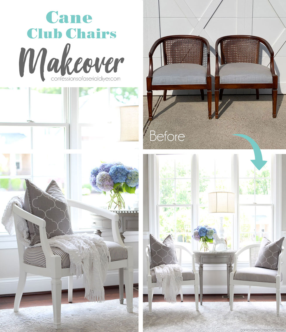 Vintage cane club chairs painted