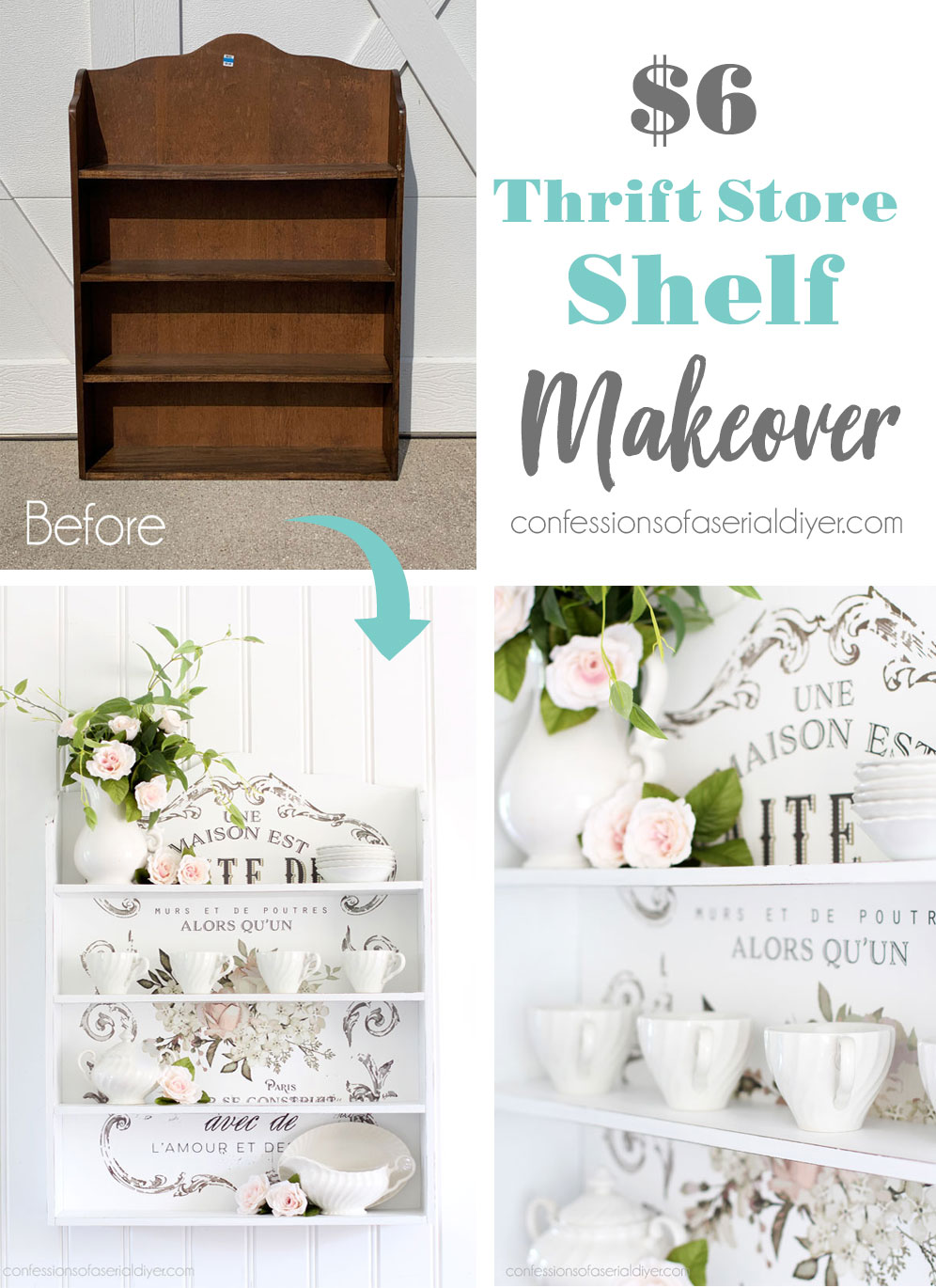 Painted shelf with Transfer