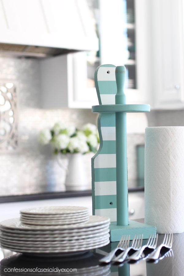 Aqua paper towel holder