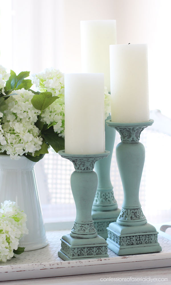 Candlesticks in Sea Glass and Black Wax.
