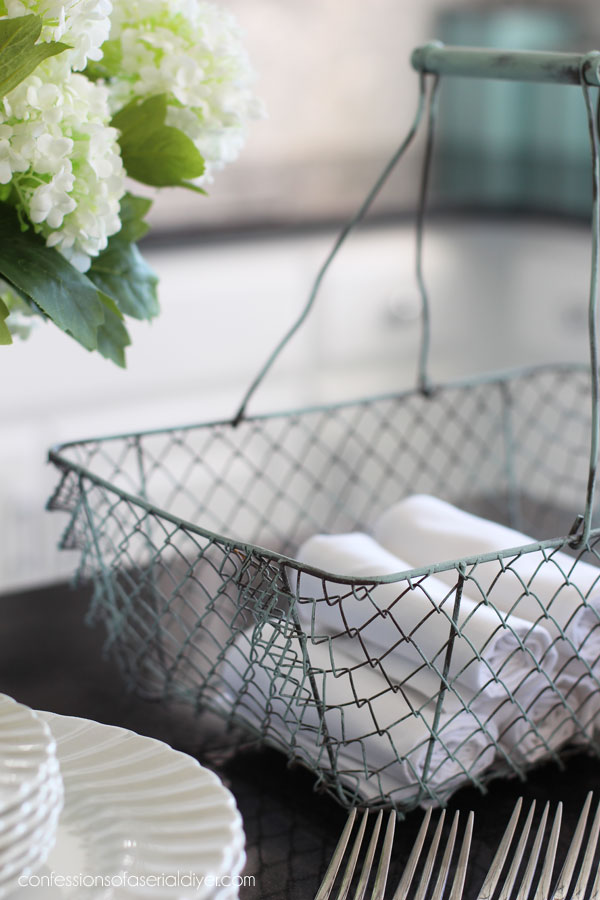 Painted wire basket
