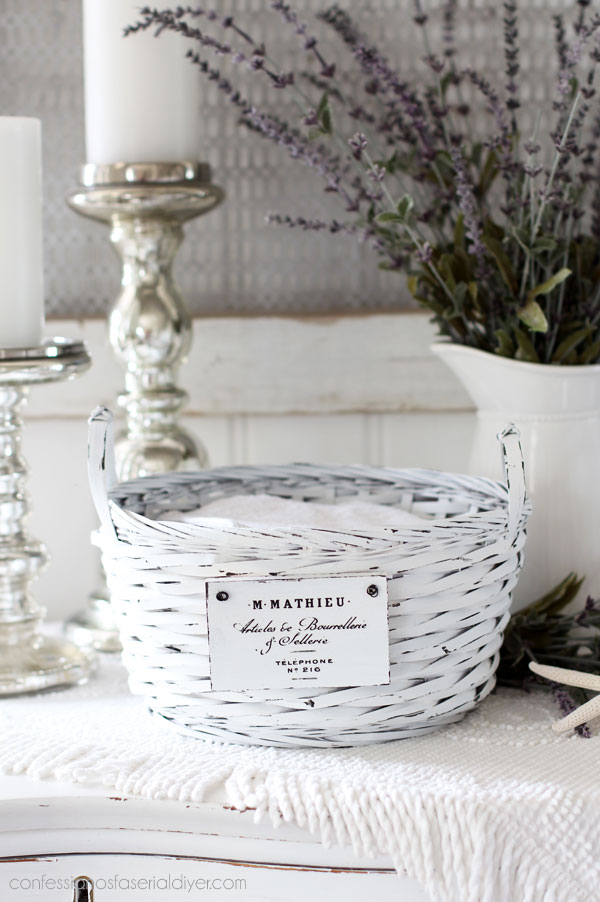 white painted basket