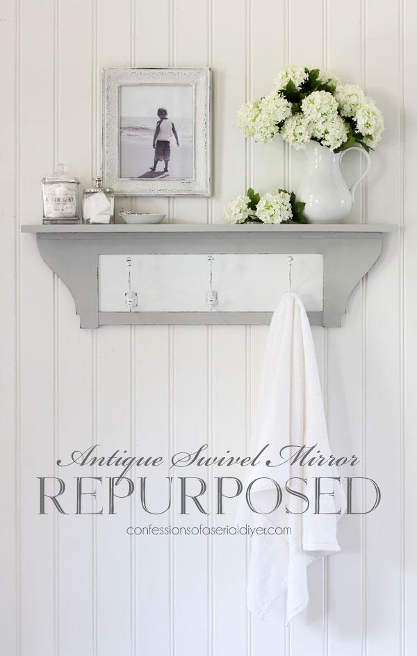 Old swivel mirror shelf