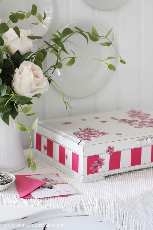 Cherry Blossom Transfer Flatware Box
