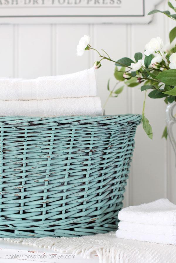 Aqua painted basket