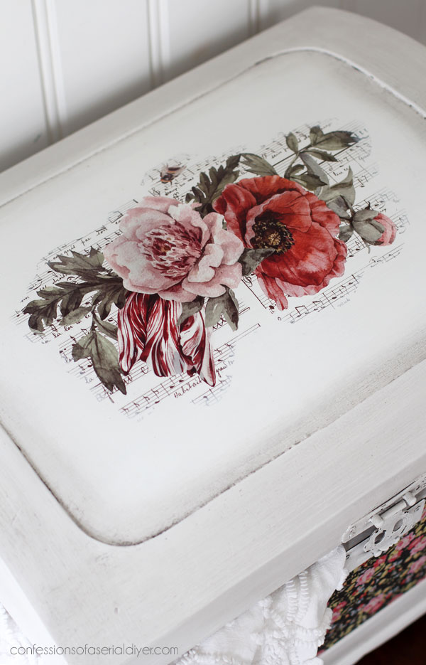 Chest with decoupage paper
